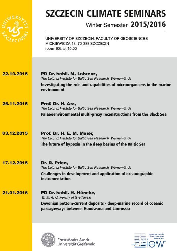 Szczecin Climate Seminars. Winter Semester 2015/2016