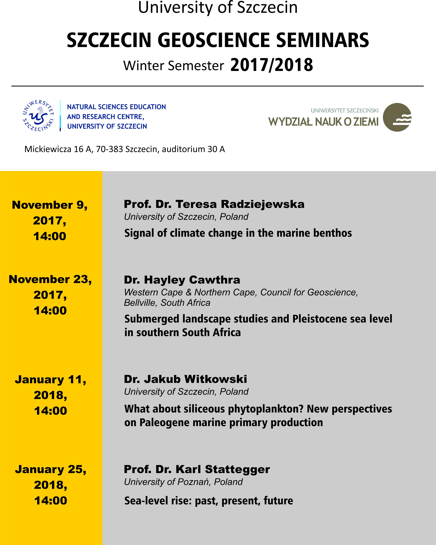 Szczecin Geosciences Seminars semestr zimowy 2017/2018