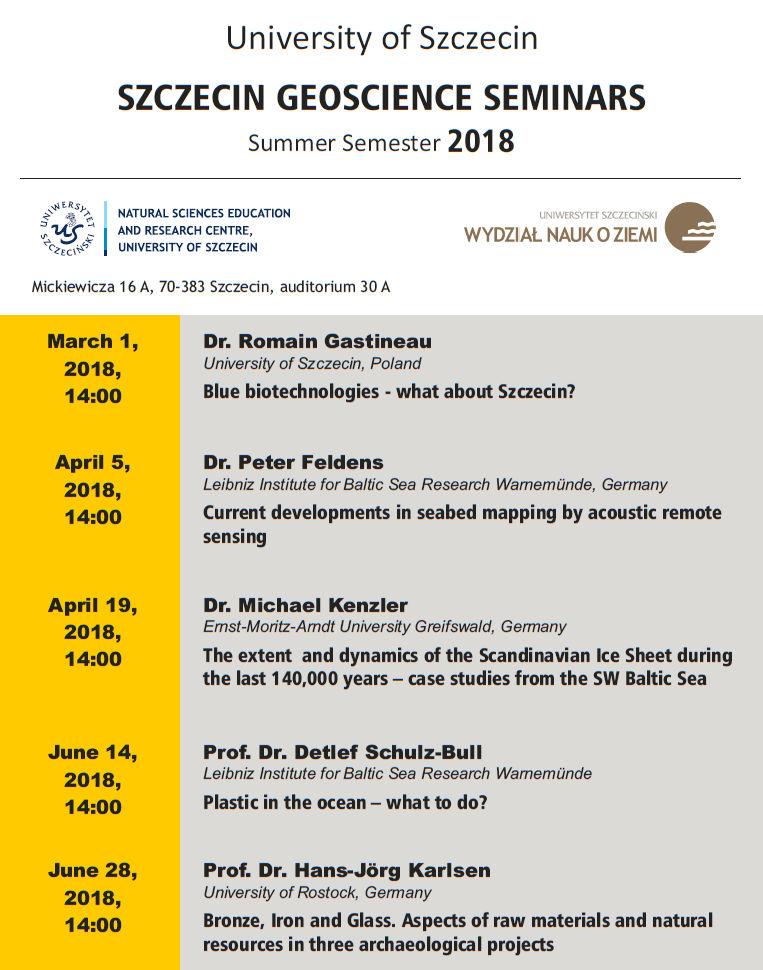 Szczecin Geoscience Seminar Summer Semester 2018