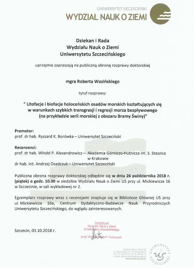 Publiczna obrona rozprawy doktorskiej – Robert Woziński – 26.10.2018