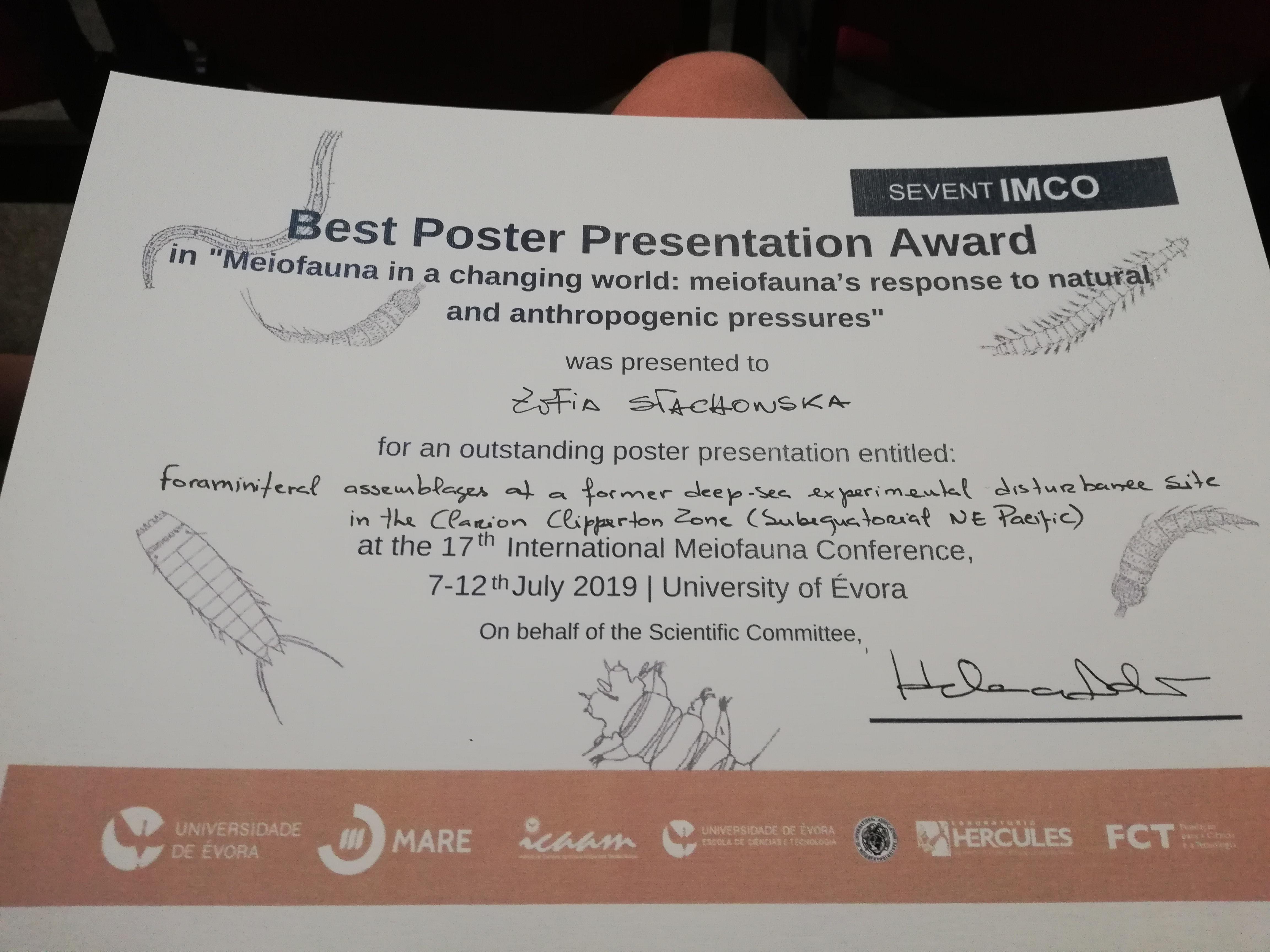 Sukces studentki WNoZu Pani Zofii Stachowskiej na międzynarodowej konferencji w Portugalii